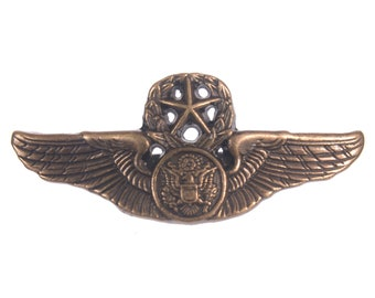 """Zinc Diecasted Brooch Pin - 1.75""""(wdth) - Aviator Wings Emblem - Antique Brass or Antique Silver"""