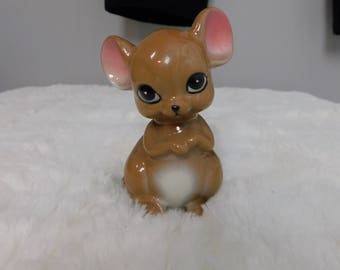 Vintage Mid Century Anthropomorphic Mouse with Sad Eyes  Figure Figurine cr box 1