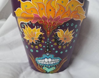 Purple and orange sugar skull indoor planter day of the dead flower pot hand painted one of a kind