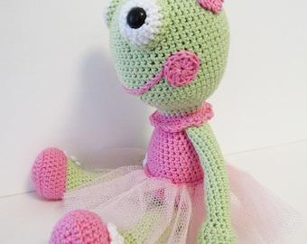 stuffed frog - ballerina frog- crochet frog - toy frog - stuffed animal