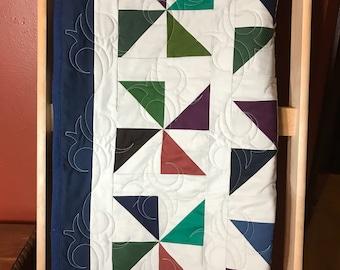 NEW - Kona Darks Pinwheel Lap Quilt or Throw - Homemade - regular price 200 - markdown to 175