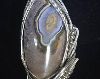 Agatised Amethyst pendant in Argentium silver