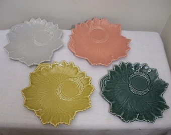 Vintage Steubenville Woodfield Leaf Snack Plates - Tea & Toast