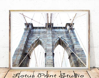 Brooklyn Bridge Print, New York City Wall Art, Black and White Photography, New York City Bridge, Bridge Print, Digital Download,  #636