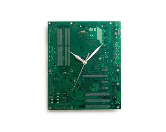 Green Circuit Board Clock, Computer Geek Gift, Large Wall Clock, Boyfriend Gift, Husband Gift, Father Gift, Unique Clock, Industrial Clock