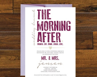 The Morning After Post Wedding Brunch Invitation, Digital Download