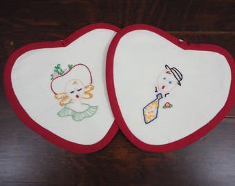 Handmade Ma and Pa Hot Pads  Pot Holders  Heart Shape  Pair