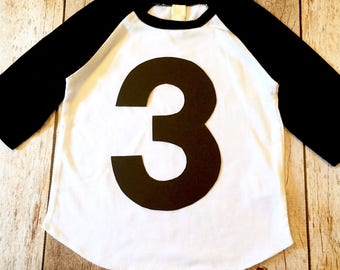 3 3rd three Birthday Shirt black and white sports raglan cake theme ideas favor party pirate farm race car trucks boys tribal tee pee teepee