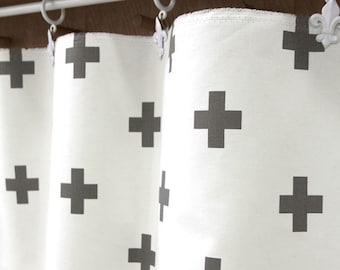Gray Cross Oxford Cotton Fabric, Plus Sign Fabric - By the Yard 87542