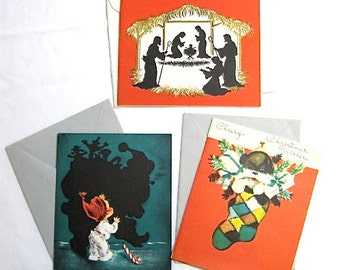 Set of Vintage Holiday Cards with Envelopes Unused c1950