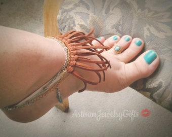 Leather Fringe Anklet Bohemian Anklet Brown Leather Fringe Ankle Bracelet Layered Anklet Boho Ankle Bracelet Silver Feather Charm Anklet