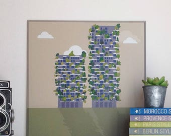 Vertical forest, Milan, illustrated by Milan Icons. Digital print on aluminum 30 x 30