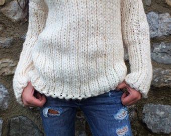 Chunky sweater Ivory sweater Knit Sweater Turtleneck sweater