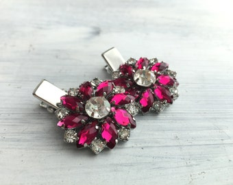 Magenta and Crystal Rhinestone flower hair clip - Sold Individually
