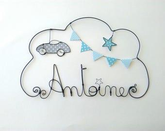"Wire name customizable cloud, nursery wall decor, ""a small drive"""