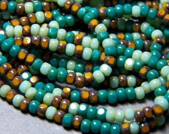 Czech Tri-Cut Turquoise Mustard Mix 4x3mm Faceted Fire Polished Glass Rondelle Beads (50) 1151