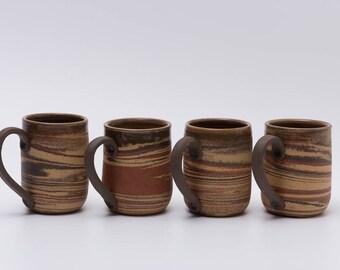 Set of Four Handmade Ceramic Mugs, Unique Gift