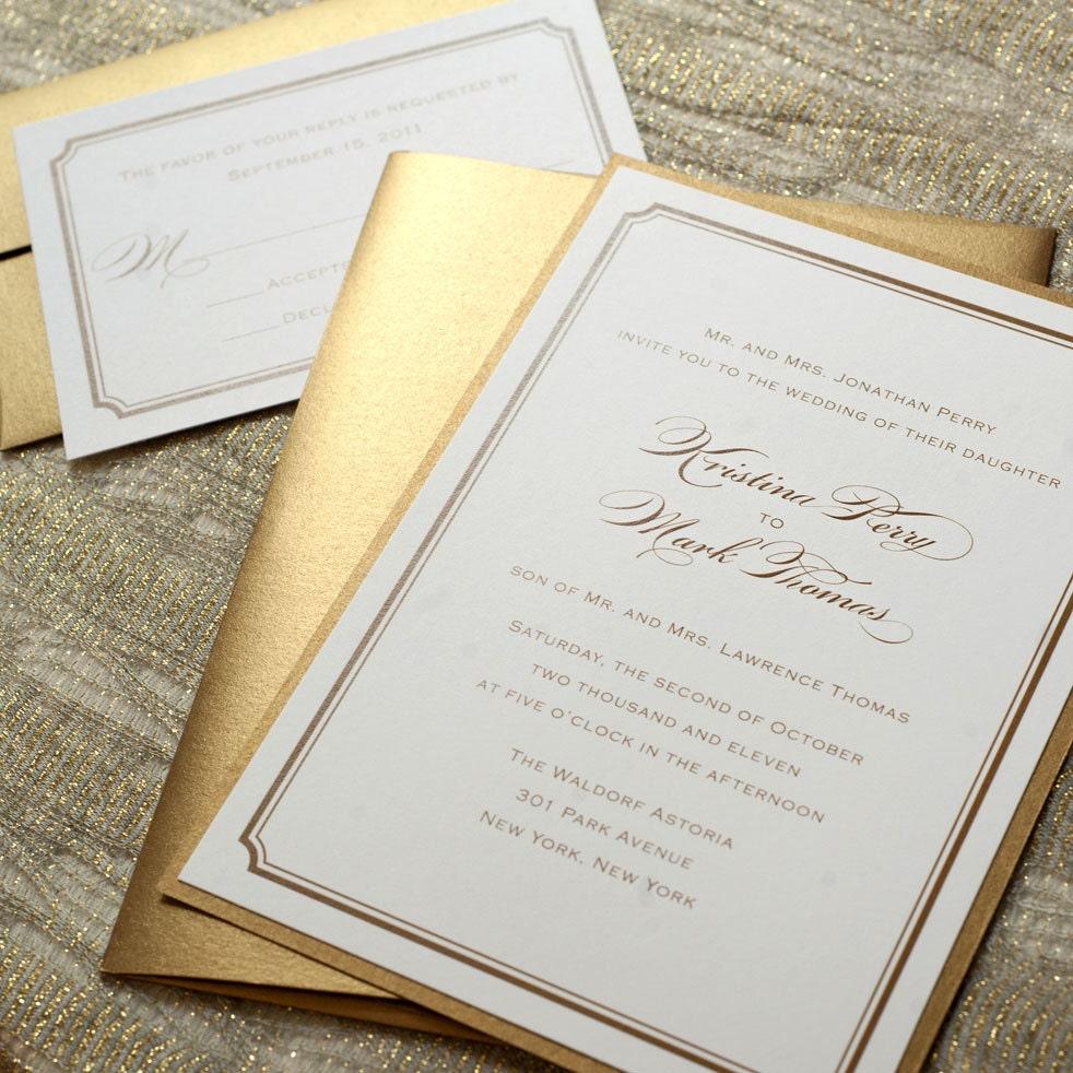 elegant gold wedding invitations modern script wedding
