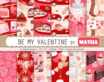 "VALENTINE'S DAY digital papers: ""Be my Valentine"" with Valentines digital paper, romantic pattern, love pattern 12 images, 300 dpi JPG files"