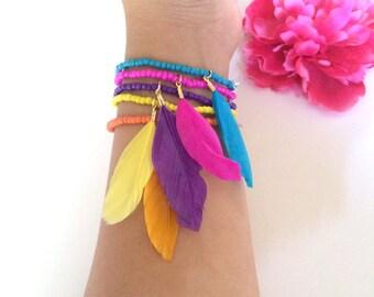 feather bohemian bracelet stack - elastic beaded bracelets - music festival jewelry - friendship bracelet - girls gift - girls jewelry gift