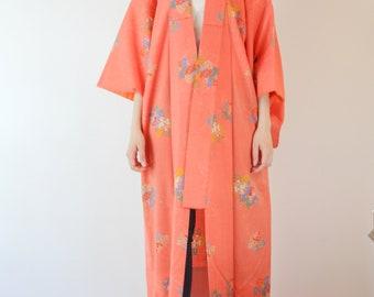 Flower pattern vivid pink kimono