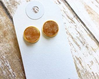 SALE Amber Chunky Druzy Stud Earrings