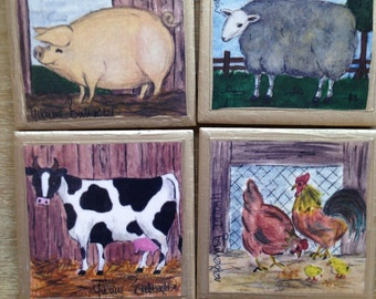 COASTERS!! Adorable Set of Farm Animal Coasters with Gold Trim