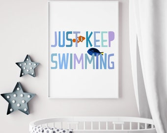 Just Keep Swimming Quote Print, Disney Finding Nemo Nursery Printable Sign, Motivational Digital Wall Art Template, Instant Download, 8x10