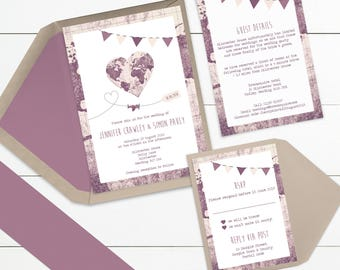 Wedding invite map etsy vintage map heart wedding invitation suites and bundles sample only solutioingenieria Images