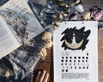 Year of Growth Calendar 2018, Lunar Phases Calendar, Moon Calendar