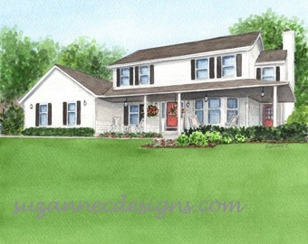 CUSTOM HOME PAINTING, a Watercolor of a House from Your Favorite Photo, Gift Certificate available Perfect Housewarming Gift or Parents Gift