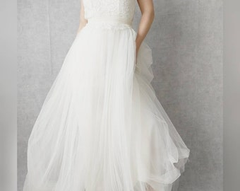 Wedding dress, silk , tulle and lace, romantic dress, guipure, tutu, made to measure