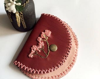 Pink Flower Leather Coin Bag, Change Purse with Wax Linen, Handmade Wallet