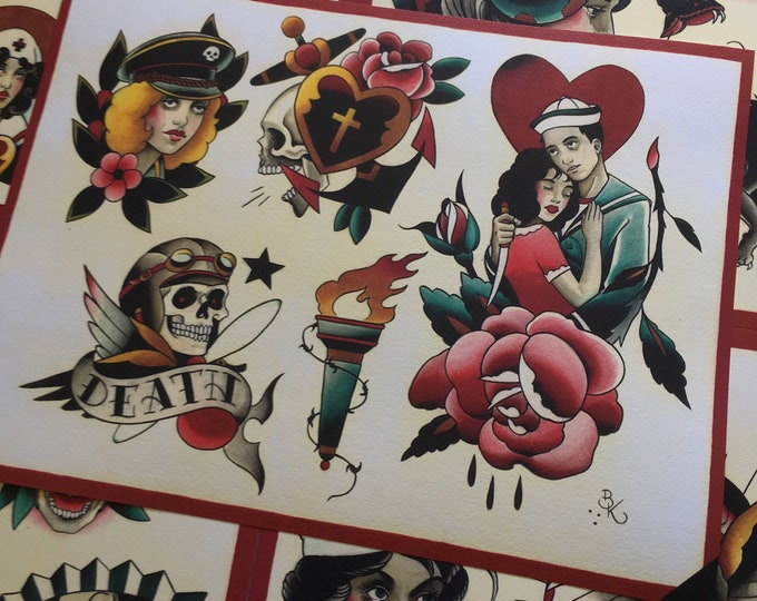Tattoo Flash Set 22 by Brian Kelly. 6 sheets.
