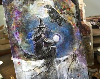 One Art Print 4x6 from my Original Painting Moon Raven Crow Black Bird Victorian Witch Halloween Gothic Folk Terri Foss