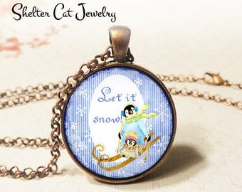 "Let It Snow Whimsical Penguin Necklace - 1-1/4"" Circle Pendant or Key Ring - Wearable Photo Art Jewelry - Wildlife, Winter, Christmas Gift"