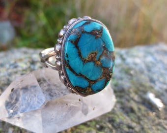 Sterling Silver Turquoise with Pyrite Matrix Ring Size 7.25