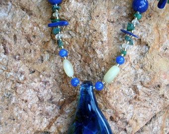 BLUE DANUBE Necklace (Handblown Lampwork Glass, Lapis, Emerald, Honey Opal, Citrine, Mountain Jade)
