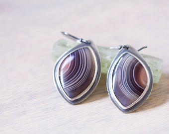 Botswana Agate Sterling Silver Earrings - Collector Stone - On the Wings of a Dove