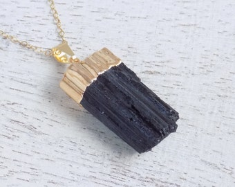 Gift For Her, Tourmaline Necklace, Black Tourmaline Necklace, Raw Tourmaline Necklace, Tourmaline Pendant, Gold Layer Necklace, Boho, 10-511