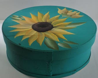 SunFlower - Hand Painted Re Purposed Wood Cheese Box. Uses: Gift Box, Storage, Organization, Decor, and focal point of a vignette.