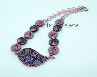 Pink and purple bird polymer clay pendant necklace