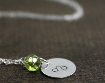 Hand Stamped Necklace - Sterling Silver - August Leo - Birthstone Necklace - Christmas Gift - Stocking Stuffer - Best Friend Gift