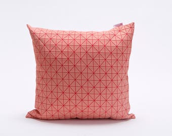 "pink on pink origami pillow cover 19.5x19.5"" - 50x50cm. Nature inspired Decorative Design. Removable Cotton print, Geo pillow"