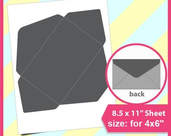 """Instant Download,  Envelope Template for 6x4"""", Microsoft word doc, PSD, PNG and SVG, Dxf, Formats, 8.5x11"""" sheet,  Printable 041"""
