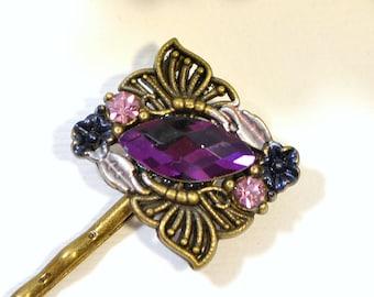 Purple Bobbies Butterfly Bobby Pin Purple Wedding Hair Pins Handmade Hair Accessories