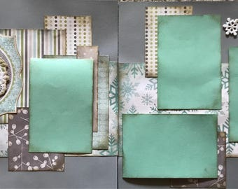 Winter Time pre made 2 page scrapbook layout