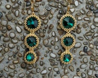 Green Earrings, Gold earrings, Round earrings, Long earrings, Dangle earrings, Fringe earrings, Unique earrings, Elegant earrings, Swarovski