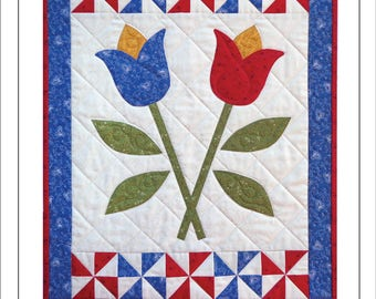 Crossed Tulips Wall Quilt Pattern