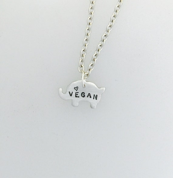 Mini Vegan Elephant with Tiny Heart necklace-Vegan Necklace-Plant Based-Vegan Gift-Elephant Lover-Vegan Jewelry-Eco Friendly-Elephants